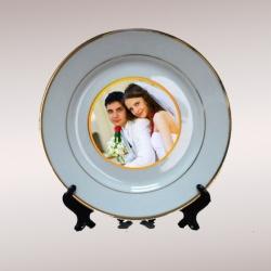 Тарелка керамическая белая с золотой каймой